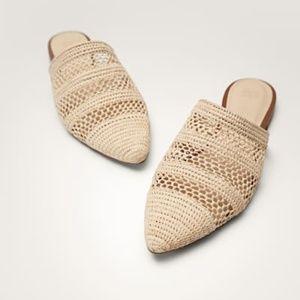 NWT Hand-braided natural raffia mules- size 40